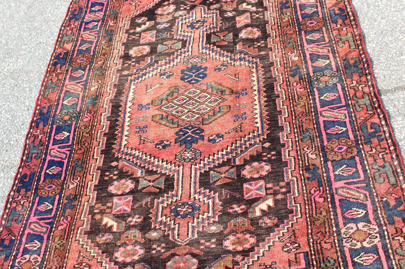 Light Pink Earth Tones 4x7 Vintage Hand Knotted Turkish Wool Rug