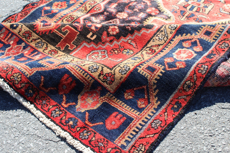 Red 4x8 Vintage Long Pink Rug | Handmade Tribal Turkish Rug