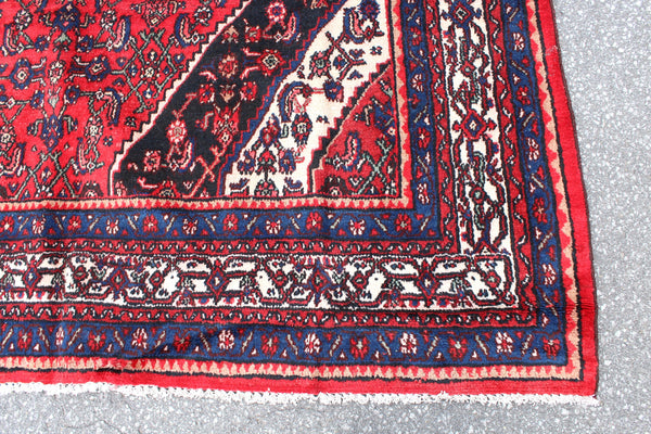 Bright Red Persian Style 7x10 Rug | Vintage Handmade