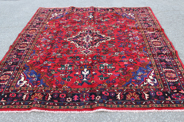 "Red Pink Oriental Persian Rug 6'11"" x 9'6"" Wool Hand Knotted"