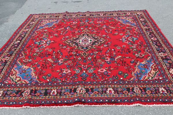 Bright Red 8x10 Oriental Handmade Rug with Navy Blue Border