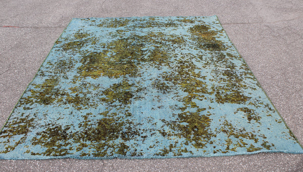 Blue Gold 7x9 Vintage Tribal Wool Area Rug