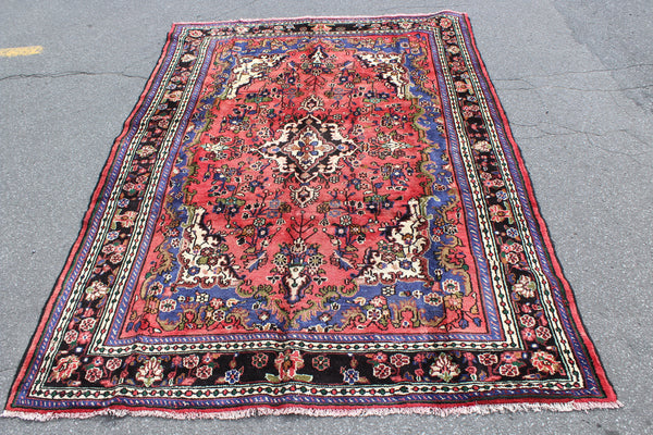 Pink Vintage Rug 7x10 Rug with Navy Blue Border