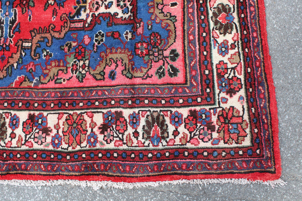 Red Pink 7x10 Medallion Persian Area Rug with Blue Outline | Hand Knotted