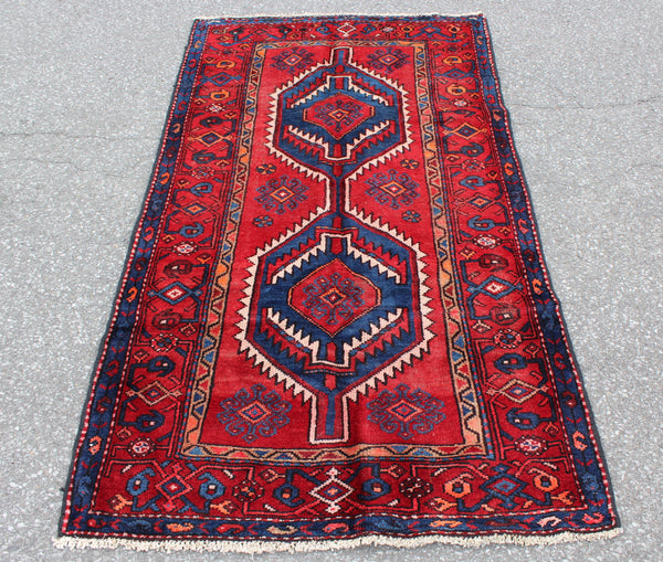 Red Blue 3x6 Vintage Runner Rug | Tribal Persian Turkish Style Rug