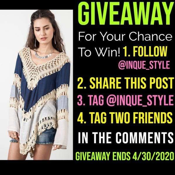 #Giveaway Time, Check it out on Instagram @inque_style -