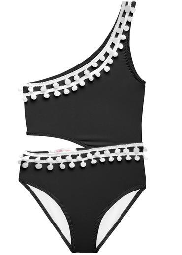 Black swimsuit with side cut out and a trim of white pom poms