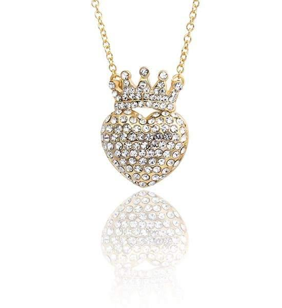 Gold necklace with a heart and crown completely covered in white crytals