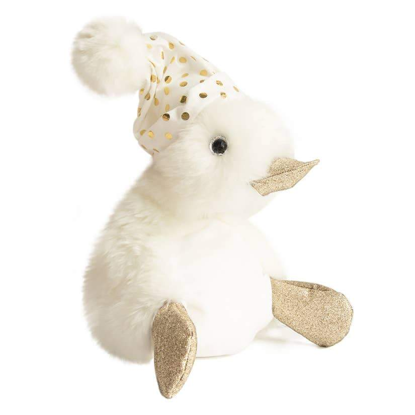 soft white duck with gold feet and beak topped with a white pom sleeping cap with gold dots