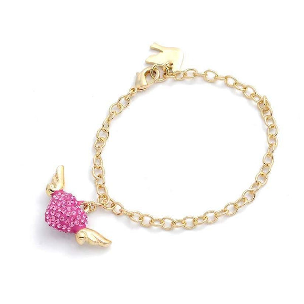 Gold bracelet with  a pink heart crystal studs and gold wings