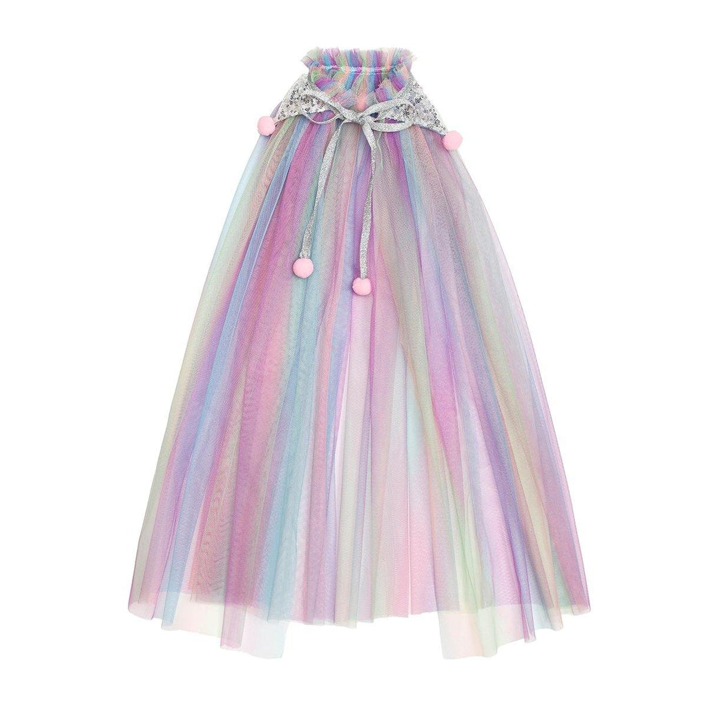 multi colored rainbow tulle cape that is beautifully accented with perfect pom poms that are attached graciously to the silver glittered collar and is finished off with a silver sparkle necktie.