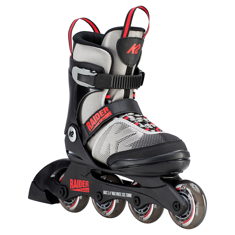 K2 Raider Jr Gray + Red adjustable skates