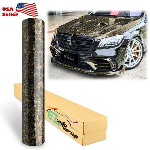 Forged Gloss Black Gold Carbon Fiber Vinyl Wrap