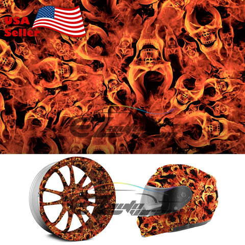"19""x 38"" Hydrographic Film Fire Flame Skull Evil #14"