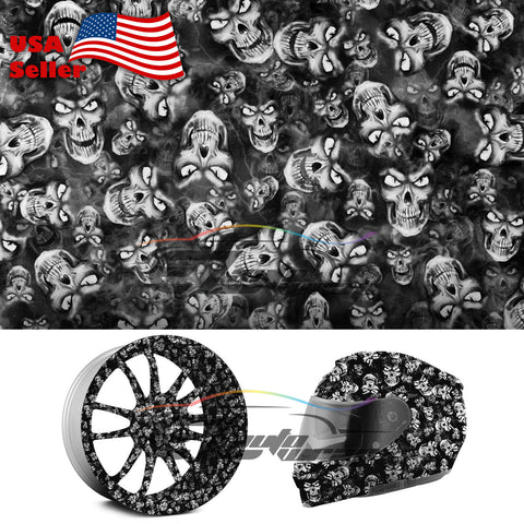 "19""x 38"" Hydrographic Film Black/White Skull #20"