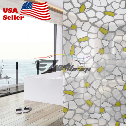 Frosted Yellow Brick Tile Glass Film 5039