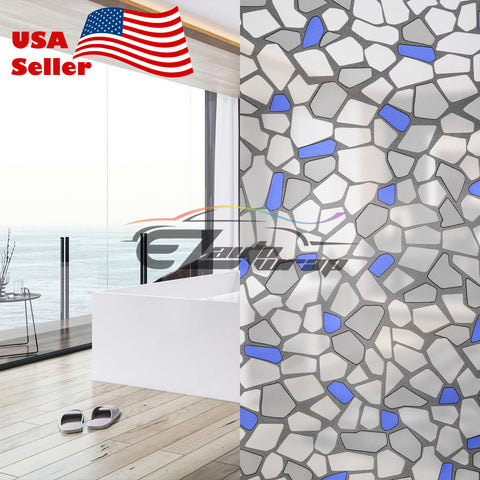 Frosted Blue Brick Tile Glass Film 5039B
