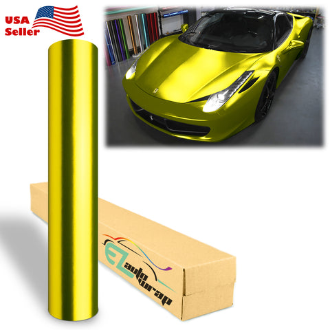 Anodized Chrome Golden Yellow Vinyl Wrap