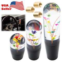 Universal Racing Clear Crystal Real Flowers Shift Knob