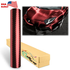 Chrome 3D Red Carbon Fiber Vinyl Wrap