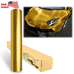 Chrome 4D Gold Carbon Fiber Vinyl Wrap