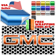 Satin Chrome GMC Emblem Overlay Vinyl Wrap