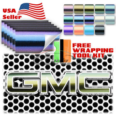 "6pcs 4""x6"" Chameleon Gloss Metallic Color Shift GMC Emblem Overlay Vinyl Wrap"