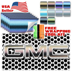 "6pcs 4""x6"" Chameleon Matte Metallic Color Shift GMC Emblem Overlay Vinyl Wrap"