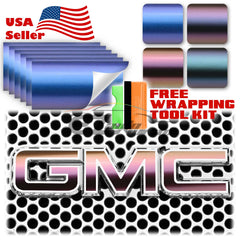 "6pcs 4""x6"" Chameleon Matte Color Shift GMC Emblem Overlay Vinyl Wrap"