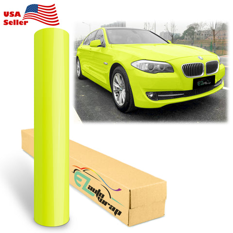 Gloss Fluorescent Yellow Vinyl Wrap
