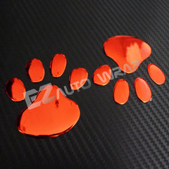 3D Dog Paw Decal Sticker Emblem (Red)
