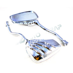 Chrome Silver Skeleton Side Mirrors 8MM 10MM