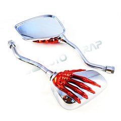 2 Tone Chrome Silver Red Skeleton Side Mirrors 8MM 10MM