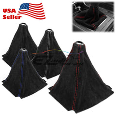 Shifter Boot Cover Black Genuine Leather Alcantara Suede (with 4 color of stitches)