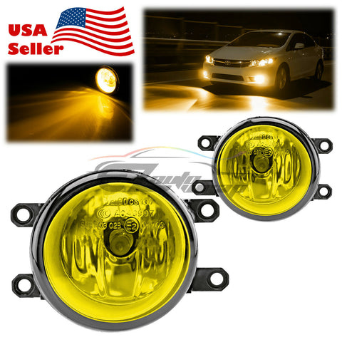 Pair of Fog Light Lamp Yellow Lens Upgrade Replacement with Bulbs For Toyota T3