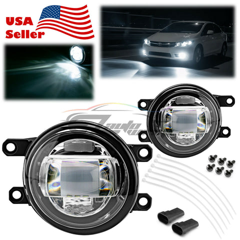 Newest Pair LED Fog Light Clear Lens Upgrade Aluminum Body For Toyota Lexus T1