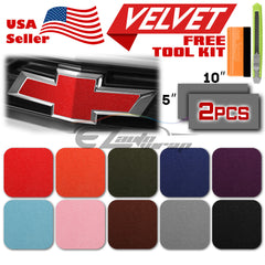 "*2pcs 5""x10"" Velvet Suede Chevy Emblem Bowtie Back Front Vinyl Wrap Decal Sheets"