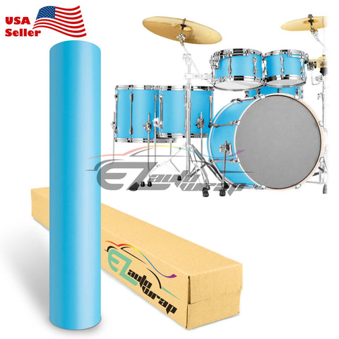Matte Light Blue Drum Wrap Vinyl Kit