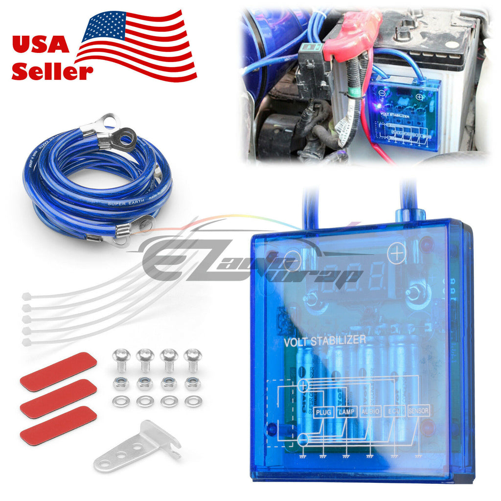 Car Power Voltage Volt Stabilizer Regulator Fuel Saver Kit /& 3 Earth Ground Wire