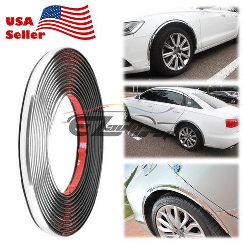 12mm Chrome Wheel Well Fender Decorative Edge Tape Molding Trim Strip Protector