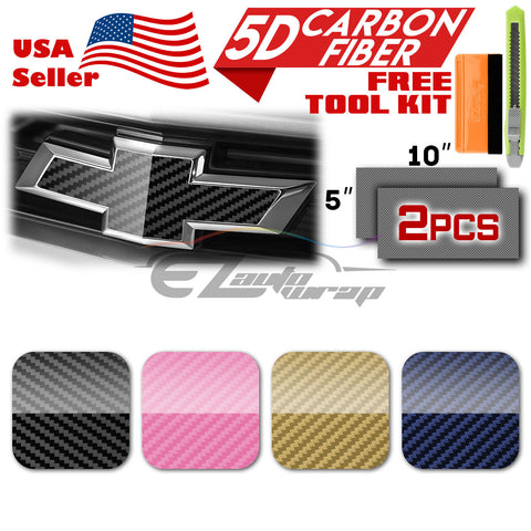 "*2pcs 5""x10"" 5D Gloss Carbon Fiber Chevy Emblem Bowtie Vinyl Wrap Decal Overlay"