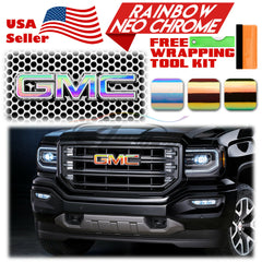 *Rainbow Neo Chrome GMC Emblem Overlay