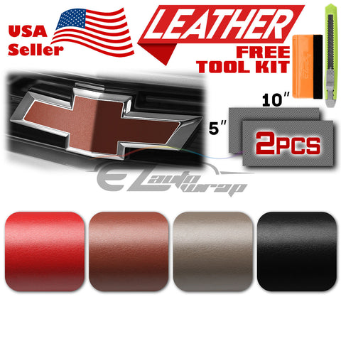 "*2pcs 5""x10"" Leather Textured Chevy Emblem Bowtie Vinyl Wrap Decal Overlay Sheet"
