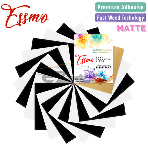 "20pcs Black & White Matte Heat Transfer Vinyl 12""x10"" HTV Bundle"