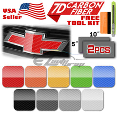 "*2pcs 5""x10"" 7D Gloss Carbon Fiber Chevy Emblem Bowtie Vinyl Wrap Overlay Decal"