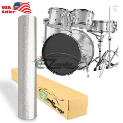 Gloss Glitter Silver Drum Wrap Vinyl Kit