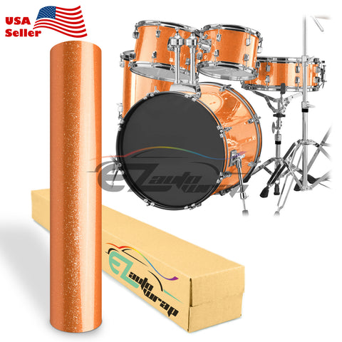 Gloss Glitter Orange Drum Wrap Vinyl Kit