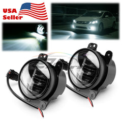 "Pair 4""inch 30W Round LED Fog Light Lamp DRL for Jeep Wrangler JK TJ Dodge F3"