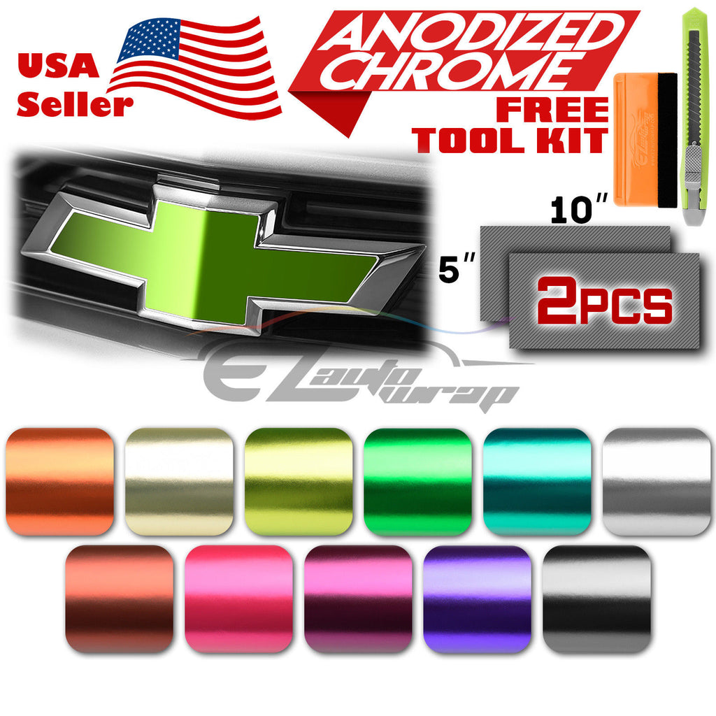 EZAUTOWRAP Free Tool Kit 2Pcs 5x10 Chevy Emblem Bowtie Satin Chrome Lime Green Vinyl Wrap Sticker Decal Film Sheet