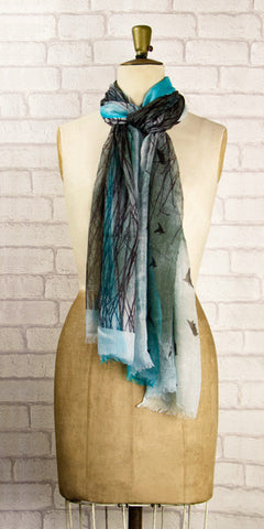 Veda Beautiful Birds Scarf - Knot Only - 2